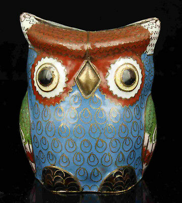 China Collectible Handwork Red Copper Cloisonne Owl Statue Desktop decoration
