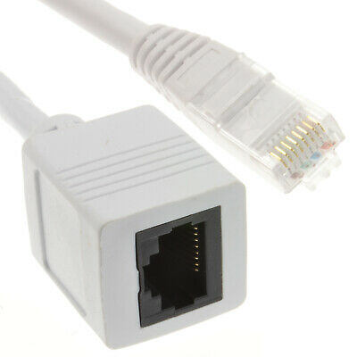 Network CAT6 UTP Ethernet RJ45 Extension Male/Female Cable White 10m