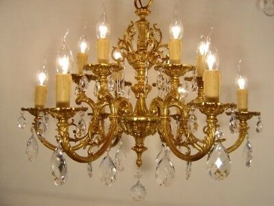 brass crystal chandelier old fixtures ceiling lamp 10 light gold bronze antique