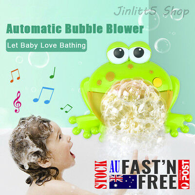 Frog Automatic Colorful Bubble Machine Maker Blower Music Bath Toy for Baby AU
