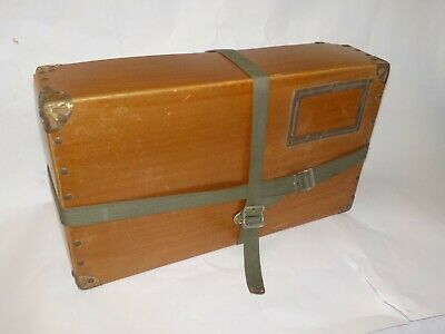 Handsome Antique Vtg Storage File Box w/ Straps Metal Corners Title slot Trunk