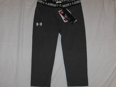 Girls Size S UNDER ARMOUR 1271021-090 Heat Gear Fitted Capri Pants on Gray NWT