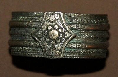 Antique Greek Orthodox folk silver hinged cuff bracelet