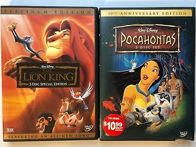 Pocahontas 10th Anniversary Edition DVD + The Lion King Platinum Edition Disney