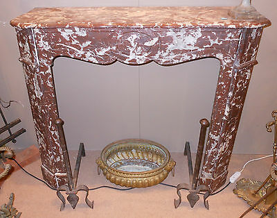 Camino marmo Rosso di Francia sec. XIX h. cm. 102x112x35 red marble fireplace ^