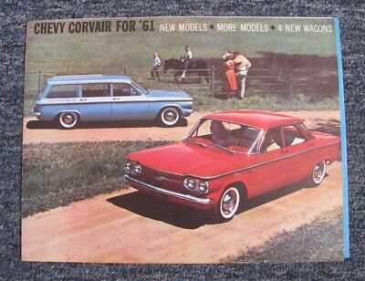 1961 Chevrolet Corvair Fold-Out Auto Brochure: Club Coupes & Station Wagons