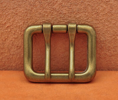 Men Solid Brass Double Tongue Pin Prong DIY Metal Belt Buckle Fits 40MM Straps
