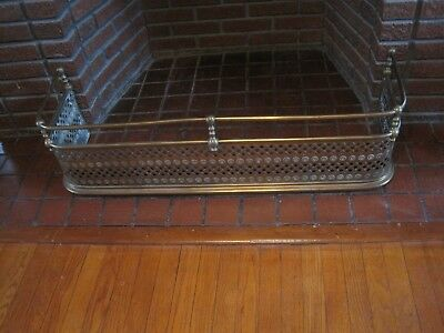 "Antique Victorian Brass Fireplace Fender/Surround 41"" Long"