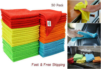 50 Pack Microfiber Cleaning Cloth/ Towels For Cars Kitchen Hands Rags Bulk