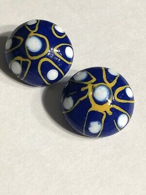 Vintage 2 Beautiful Blue White & Gold Glass Buttons Button Lot 115-52