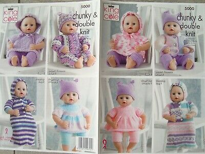 6b7716ad7 KING COLE 5000 Dolls Clothes In Chunky & DK Knitting Pattern