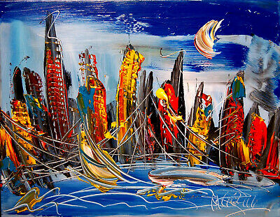MANHATTAN Modern Abstract Oil Painting Original Canvas Wall Decor Impressionist