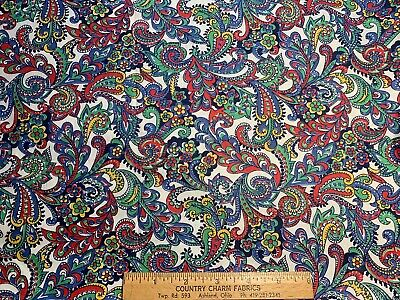Vintage Cotton Fabric 40s PRETTY Red Blue Yellow Green Floral Paisley 35w 1.25yd