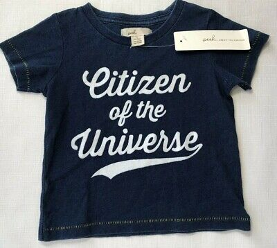 NWT Peek Little Peanut Baby Boys 12-18 Months Blue Citizen of the Universe Shirt