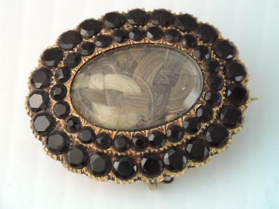 Antique Victorian Mourning 18K Gold Braided Hair Black Stone Pin Pendant