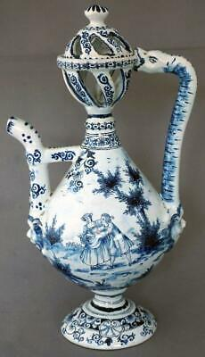 Antique Dutch Delft Blue and White Tin Glaze Pottery Ewer  Adriaan Kocx