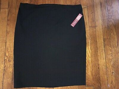 d59921422482 NWT Womens Black Stretch Extensible Spandex Blend Skirt by Merona Size 18