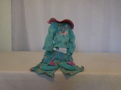 """American Girl doll 18"""" Blue pjs pajamas shirt pants Slippers outfit Clothes Hat"""