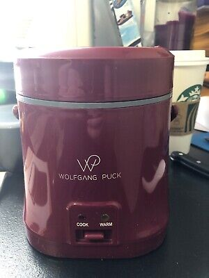 Wolfgang Puck 1.5 Cup Portable Rice Cooker, Red With 2 Additional To Go Contain.