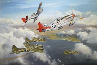 P51 Mustang Red Tails Squadron Print Defending B17 Raid Wwii Ww2