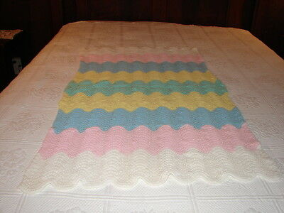 New Handmade Handcrafted Knitted Crochet Afghan Throw Baby Blanket