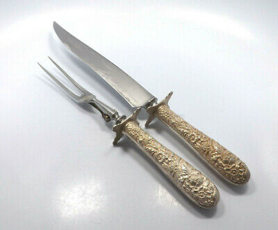 Vtg S. Kirk & Son Inc Sterling Silver Floral Repousse Carving Set Knife & Fork