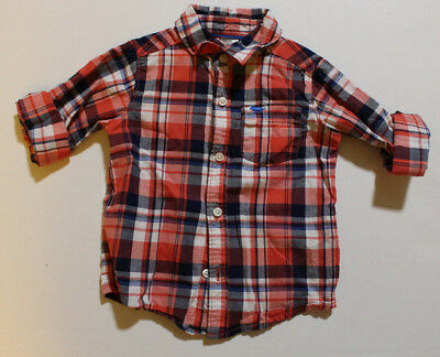 Baby Boy 24 Months CARTERS Red Blue Plaid Button Up Front Shirt Long Sleeve