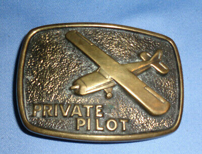 Vintage Solid Brass PRIVATE PILOT AIRPLANE BELT BUCKLE by BTS USA