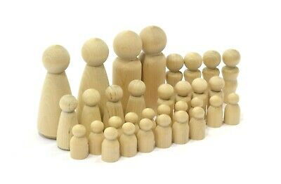 New-32 Piece Wooden DIY Chess set-Unfinished Wood Peg Dolls-Paintable