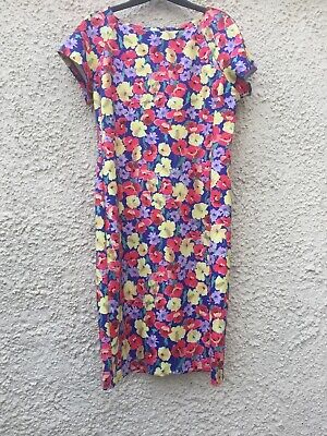 076335a4578 F&F Tesco Blue Red Yellow Lilac Floral Scuba Short Sleeve Shift Dress Size  16
