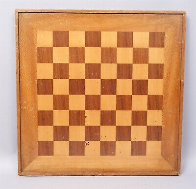 Estate Found Antique Early 20c Wooden Marquetry Inlay Checker Board AAFA