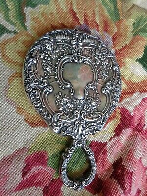 Antique Gorham Sterling Floral Roses Repousse Hand Mirror Stunning