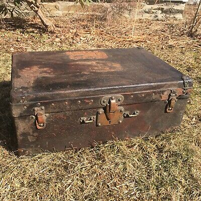 Antique Leather Louis Vuitton Small Travel Hardcase Luggage,CHARRED Thru FIRE!