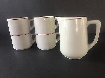 Vintage Mid Century AFC Italy Stacking Demitasse Cups & Foaming Milk Pitcher Set