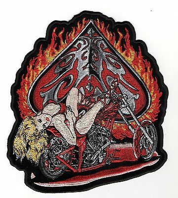 Grand Patch Usa : Chopper Flammes  As De Pique Pin Up Bitch Biker Triker Motard