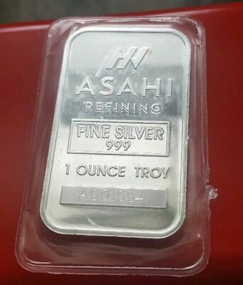 NEW Asahi Johnson Matthey - 1 troy oz .999 Fine Solid Silver Bullion Bar. Sealed