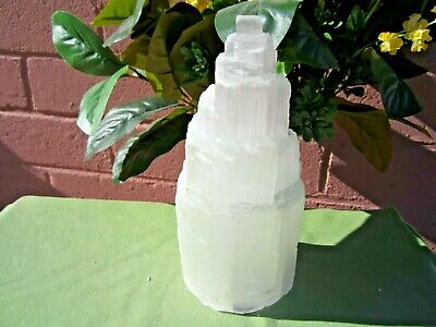 """Rough SELENITE TOWER LAMP with Light Cord Large Morocco 8"""" inch"""