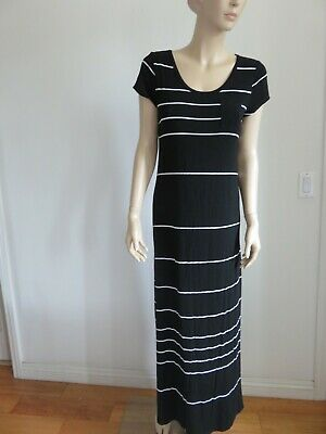 2cc28aeb Old Navy Black White Striped Short Slv Pocket T-Shirt Maxi Dress Size M