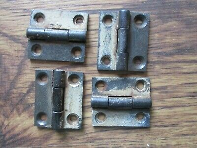"Pair Small Old Cast Iron Cabinet Door Butt Hinges c 1850s 2 x 1 1/4"" 2 Available"