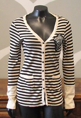 TINY Petite Small Cream Black Striped Sequin Embroidered Patch Cardigan - P