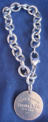 """Tiffany & Co 925 Sterling Silver Chunky Chain Link Bracelet Round Disc NY 7"""""""