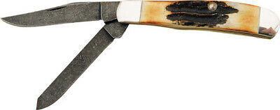 """Bear & Son Mini Trapper Knife 507D 3 1/2"""" closed. Damascus steel clip and spey b"""