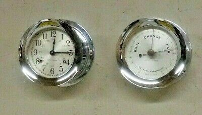 Seth Thomas Corsair Maritime Ships Bell Clock Barometer Set Nickel Brass Working