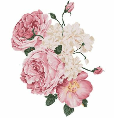 VinTaGe IMaGe XXL SoFt FLuFfY PinK RoSeS ShaBby DeCAL ~FuRNiTuRe SiZe~