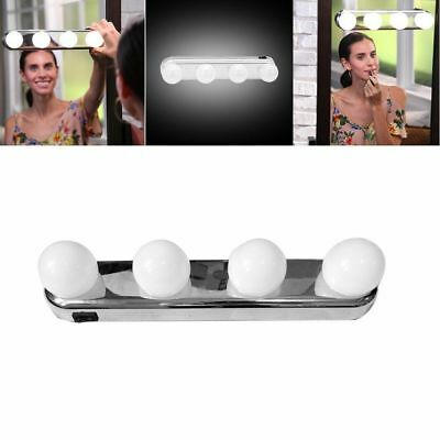 4 Bulb HOLLYWOOD LED Makeup Mirror Lights Vanity Suction Cup Battery Lights Lamp