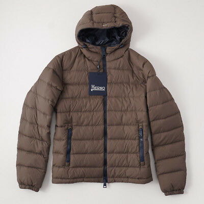 NWT $955 HERNO Olive Brown Polar-Tech Quilted Goose Down Jacket M (Eu 50) Coat
