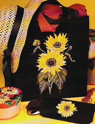 Plastic Canvas Pattern ONLY 7 /& 10 count pc Sunflower Tote and Eyeglass Set