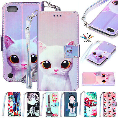 For iPod Touch 5th 6th Gen Case Cute Magnetic Leather Card Holder Blu-Ray Cover