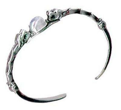 Celtic Lion Bracelet .925 Sterling Silver Goddess Cuff w/ Natural Moonstone