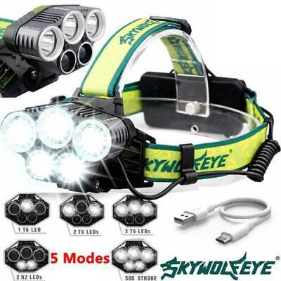 50000LM T6 LED Headlamp Rechargeable Headlight Flashlight Super White Torches AU